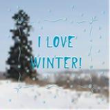 冬天贺卡- I爱冬天 图库摄影