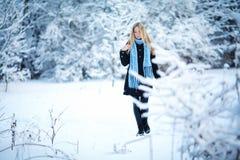 冬天 女孩走的多雪的森林和微笑对照相机 巨大心情 免版税库存图片