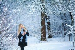 冬天 女孩走的多雪的森林和微笑对照相机 巨大心情 图库摄影