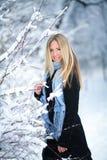 冬天 女孩走的多雪的森林和微笑对照相机 巨大心情 库存图片