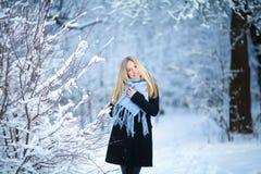 冬天 女孩走的多雪的森林和微笑对照相机 巨大心情 免版税图库摄影