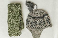冬天给强烈地色的羊毛穿衣 Neckcloth和帽子 库存图片