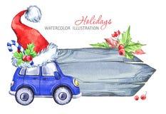 冬天水彩贺卡,与减速火箭的汽车和圣诞老人帽子的木制框架 库存照片