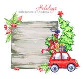 冬天水彩贺卡,与减速火箭的汽车,圣诞树的木制框架 免版税库存图片