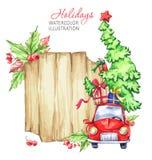 冬天水彩贺卡,与减速火箭的汽车,圣诞树的木制框架 图库摄影