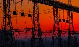 冬天 日落 水力发电 免版税库存照片