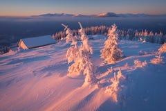 冬天黎明在山村 库存图片