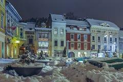 冬天黄昏城市视图 库存照片