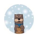 冬天水獭经理 袋子看板卡圣诞节霜klaus ・圣诞老人天空 图库摄影