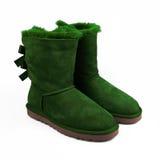 冬天绿色鞋子 库存图片