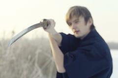 冬天画象日本人ninja 免版税库存照片