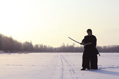 冬天画象日本人ninja 图库摄影