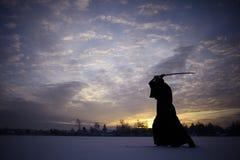冬天画象日本人ninja 免版税库存图片
