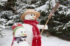 冬天-雪人夫妇在一个多雪的风景的与帽子和c 库存图片