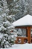 冬天滑雪瑞士山中的牧人小屋,多雪的风景,与拷贝空间的冬天背景 库存图片