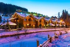 冬天滑雪胜地Bukovel,乌克兰 库存图片