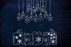 冬天主题的Xmas购物袋 库存照片