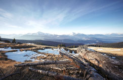 冬天Chornogora山景  库存照片