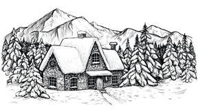 冬天mountines的议院,盖用雪和围拢由冷杉森林传染媒介圣诞节田园诗风景 皇族释放例证