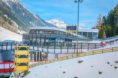 冬天skii驻地在Ischgl,奥地利 库存照片
