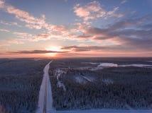 冬天snowscape和森林鸟瞰图  免版税库存照片