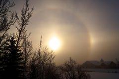 冬天Sundog在卡尔加里 库存图片