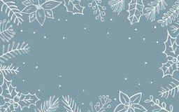 冬天xmas圣诞节季节性叶子分支花枝杈边界 库存例证