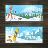 冬季体育被设置的旅游业横幅 库存图片
