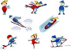 冬季体育:曲棍球,花样滑冰,滑雪,从跳板,雪撬跳跃。 库存图片