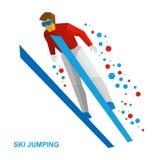 冬季体育:跳台滑雪 在跃迁期间的动画片滑雪者 库存照片