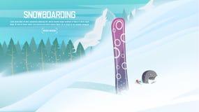 冬季体育-雪板 雪板运动的运动员倾斜下来从山 免版税库存图片