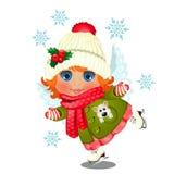 冬季衣服的赋予生命的逗人喜爱的女孩,有用与天使翼冰鞋的霍莉装饰的绒球的被编织的帽子 皇族释放例证