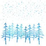 冬时手画圣诞树和降雪的水彩 免版税库存照片