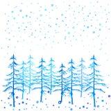 冬时手画圣诞树和降雪的水彩 库存照片