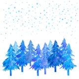 冬时手画圣诞树和降雪的水彩 免版税图库摄影