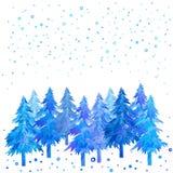 冬时手画圣诞树和降雪的水彩 库存图片
