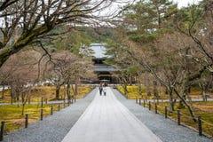 冬景花园在京都日本 免版税库存图片