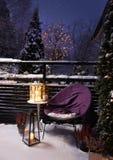 冬景花园晚上圣诞节感觉 免版税库存照片