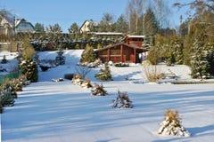 冬景花园的棚子 图库摄影