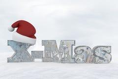 冰与圣诞节帽子3d翻译例证的信件X-Mas 库存图片
