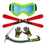 冰体育设置了平的样式-风镜,滑雪,手套,冰斧 做 免版税库存照片
