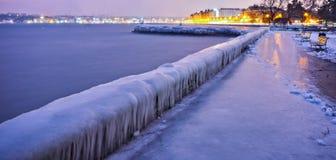 冰冷的墙壁,日内瓦瑞士 库存图片