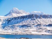 冰冷的峰顶在北部冰岛 免版税库存图片