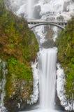 冰冷的更低的排马特诺玛瀑布俄勒冈冬天 库存图片