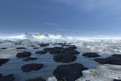 冰冷的横向山 库存图片