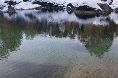 冰冷的水背景与石头的 图库摄影