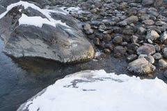 冰冷的水背景与石头的 库存图片