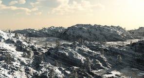 冰冷的湖山 免版税库存照片