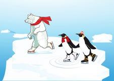 滑冰北极熊dn的企鹅 库存图片