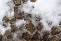 冰和雪在石头 库存图片